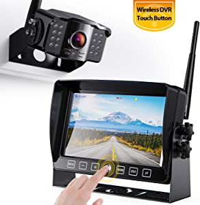 """Xroose Wireless Backup Camera with 7"""" DVR Monitor for RV Trailer, 1080P FHD Back Up Cam with Extra Long Range Signal + Touch Button Recorder Monitor Kit Rear View Pickup Truck Motorhome Camper, CM1"""