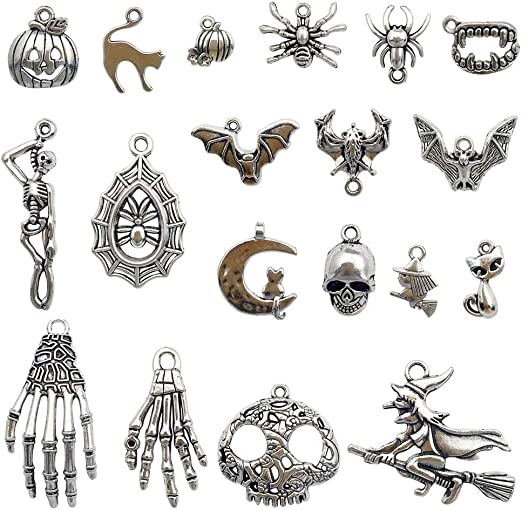 10 Scared Hissing Halloween Cat Charms Hammered Look Bronze Witch Familiar Great for Earrings Jewelry Supplies 27x18mm