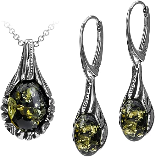 Sterling Silver Green Amber Drop Pendant