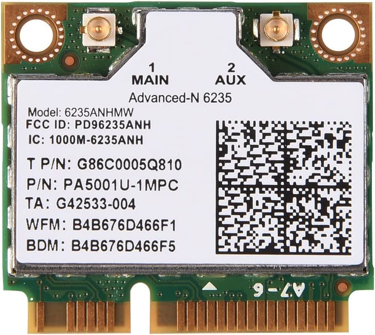 300 Mbps 2.4// 5G Dual-Band Mini PCI-E WiFi Card for Intel 945//965// GM45// PM45 or Later Main Chip Laptops 6235ANHMW WiFi Card