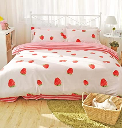 6fae9fe368 Image Unavailable. Image not available for. Color: LELVA Super Cute  Strawberry Bedding Set ...