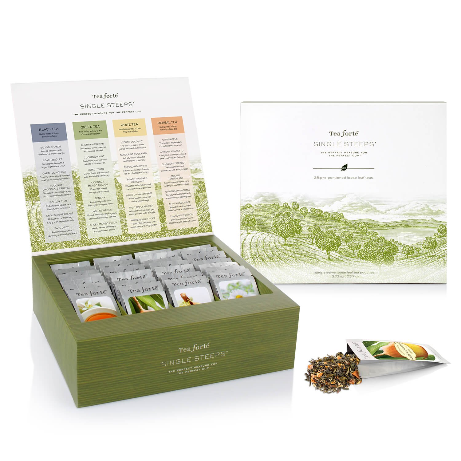 Tea Forté SINGLE STEEPS Loose Tea Sampler, Assorted Variety TEA CHEST, 28 Different Single Serve Pouches - Black Tea, Green Tea, White Tea, Herbal Tea