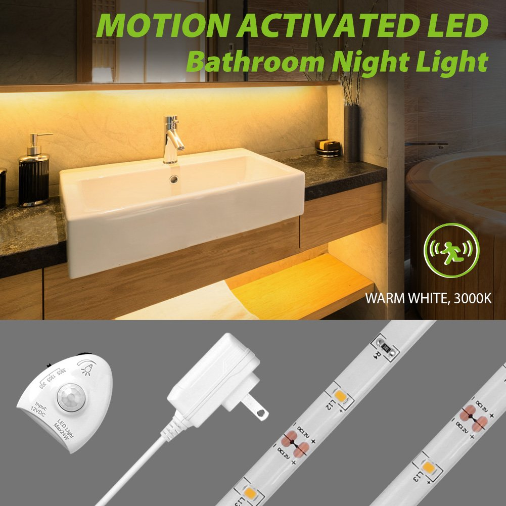 5ft/1.5m Motion Activated LED Strip Light, Megulla Under Cabinet Lighting, Dimmable, IP65 Waterproof, 12V Power Supply, Optional Timer (Warm White(3000K), 1Pack)