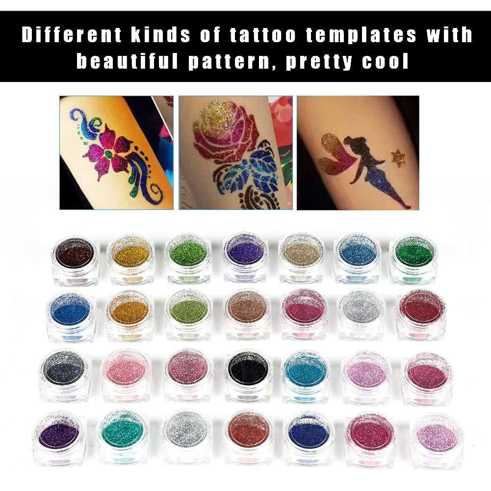 Tattoo Powder Diamond Colorful 3D Glitter Kit,Shimmer Tattoo and Nail Art 3D Decoration Waterproof Body Tattoo Art Paint with Stencil Brush by ZJchao (Image #5)