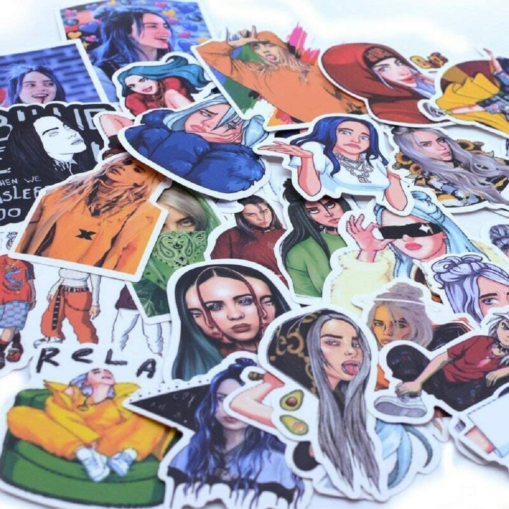 53pcs Billie Eilish Merch Stickers, Waterproof and Durable Vinyl Sticker Pack for Hydro Flask YETI Contigo Water Bottles, Laptops, Computers, Keyboards, Macbooks, Notebooks, Luggage, Skateboards (C)