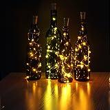 JOJOO Juego de 6 botellas de vino blanco cálido Cork Lights - 32inch / 80cm 15 LED de cobre Wire Lights luces estrelladas de cadena LED para la botella DIY, fiesta, Decoración, Navidad, Halloween, boda o luces de humor LT0156
