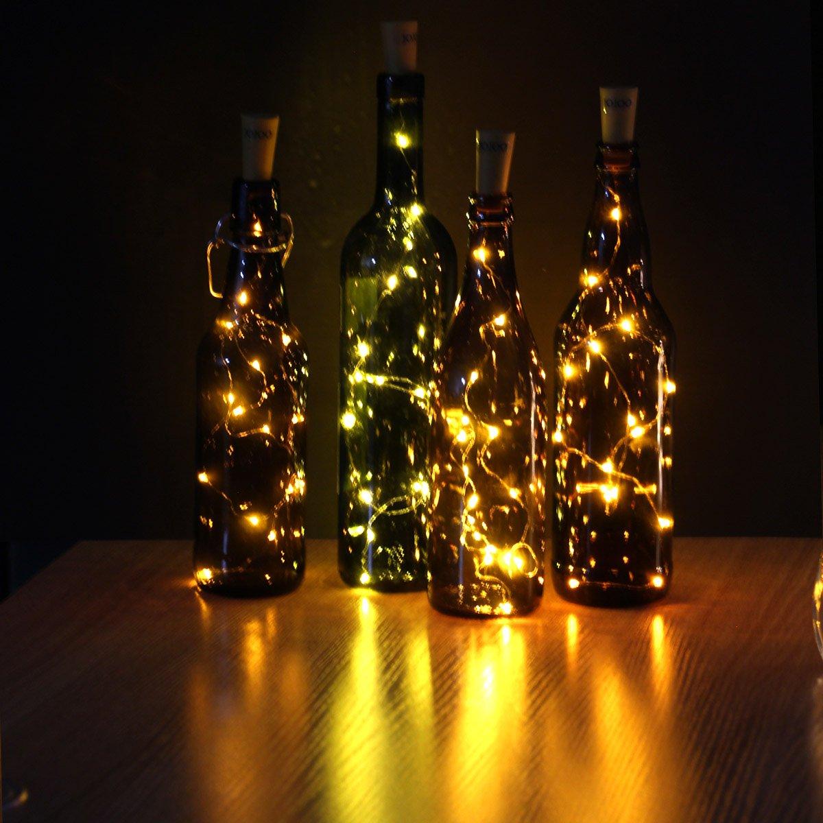 JOJOO 4 Pack Kork-förmige Lampe Lampe Deco LED-Micro-Cap-Flasche ...