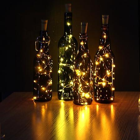 JOJOO Set of 6 Warm White Wine Bottle Cork LED Lights Copper Wire ...