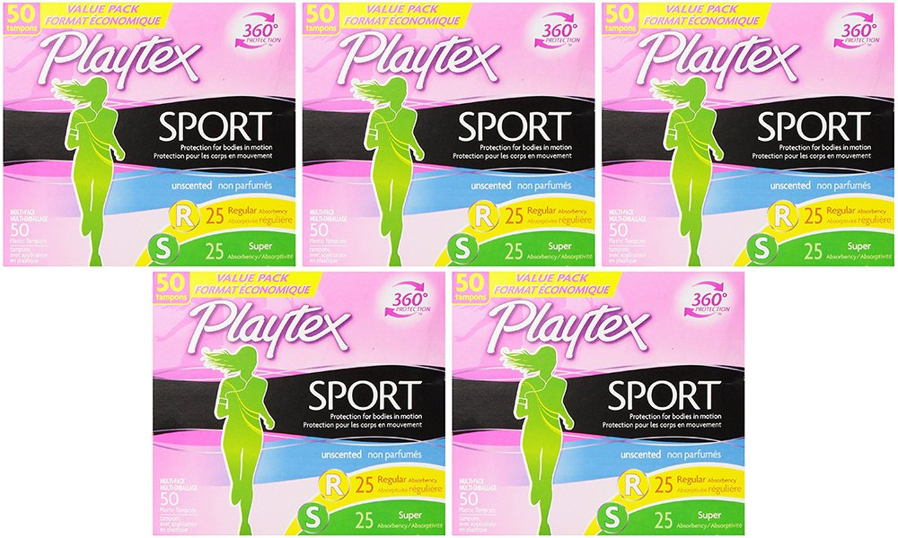 Playtex Sport LkPDw Tampons with Flex-Fit Technology, Regular and Super Multi-Pack, Unscented, 50 Count (5 Pack)