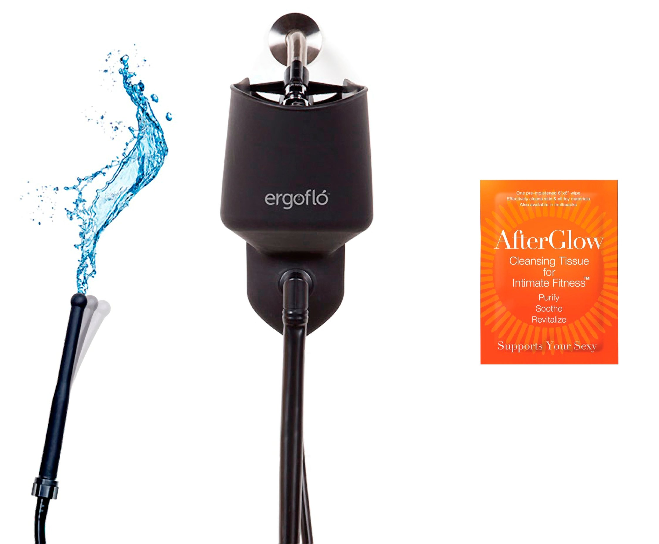 Bundle-2 Items: Perfect Fit ErgoFlo Shower, 5-Pack Toy Cleaner 3295X by Sex Toys Online Store