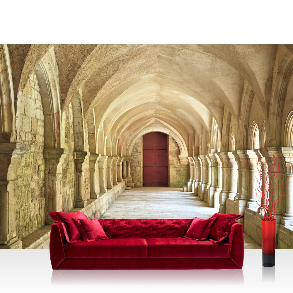 Vlies Fototapete 350x245 cm PREMIUM PLUS Wand Foto Tapete Wand Bild Vliestapete - COLONNADED ARCADES - Arkaden 3D Perspektive Gewölbe Säulen Spanien - no. 065