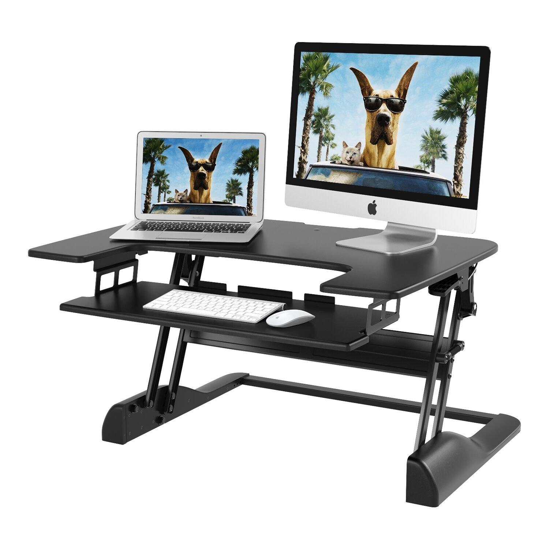 1home Sit- Stand Scrivania con Altezza Regolabile Sollevamento e Abbassamento Tavolo di Lavoro in Varie Posizioni per Ergonomico