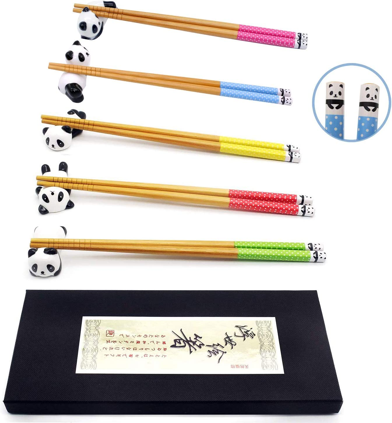 Chopsticks and Chopstick Rest Set, Cute Panda Chopsticks Holder 5 Pcs, Classic Japanese Style Bamboo Natural Reusable Chopsticks, Dishwasher - Safe, Chopsticks Holder Gift Set 5 Pairs (Panda)