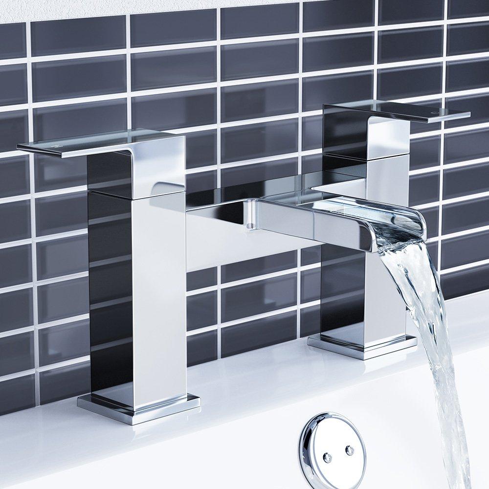 iBathUK | Modern Waterfall Monobloc Bath Filler Mixer Tap Chrome ...