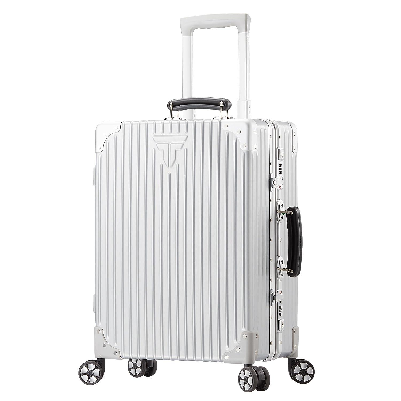 TABITORA(タビトラ) スーツケース 大型 人気 レトロ キャリーケース 静音 TSAロック 旅行用品 出張 超軽量 大容量 8輪 アルミフレーム B06XFSSVT9 M|シルバー シルバー M