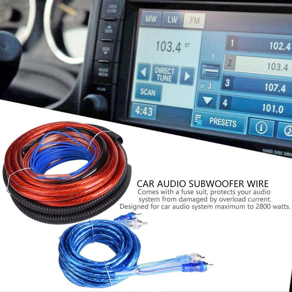 Dgtrhted Subwoofer Wiring Kit 4 Guage 2800w Car Audio Subwoofer Amplifier Installation Cable Audie Speaker Installation Wire Cable Kit Auto