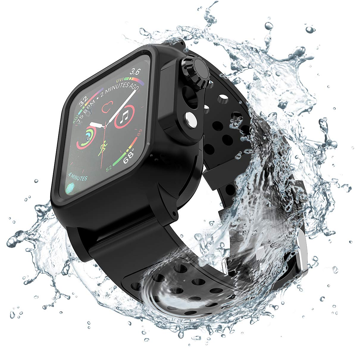 Lontect Compatible Apple Watch Series 4 44mm Waterproof Case with Soft Silicone Sport Band Full Body Protective Rugged Case Dust Proof Shockproof for Apple Watch Series 4 44mm, Black