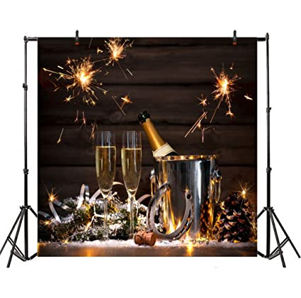 leyiyi 6x6ft photography backdrop happy new year background champaign fireworks vintage wooden cabin merry christmas pine