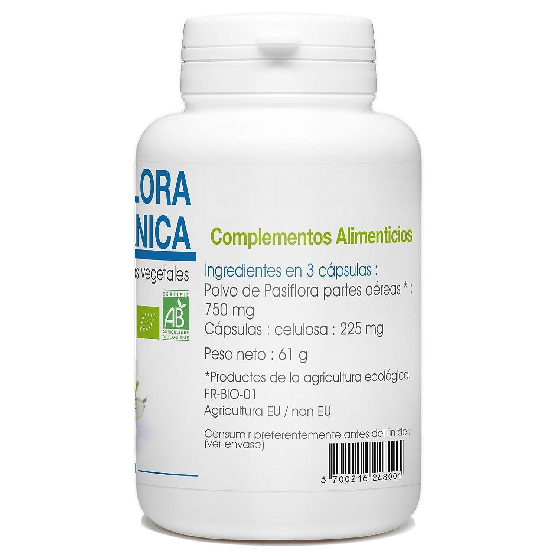 Pasiflora Orgánica - Passiflora incarnata - 250mg - 200 cápsulas vegetales: Amazon.es: Salud y cuidado personal