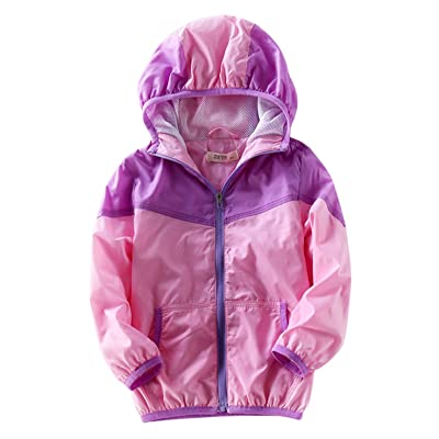 Aivtalk Girls Windbreaker Sun Protection Hooded Zipper Up Skin Coat 2-8T