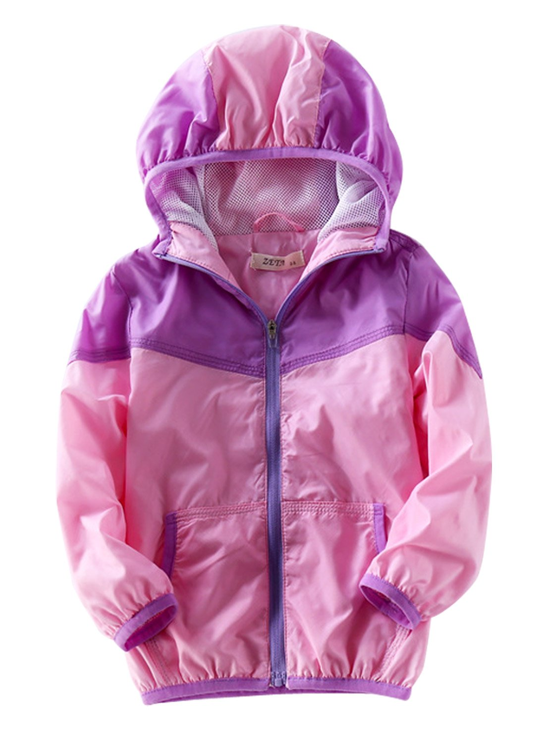 Aivtalk Girls Skin Coat Two Slant Pockets Elatic Cuff Cinched Waist Windproof Warm Wind Jacket 4-5T Pink