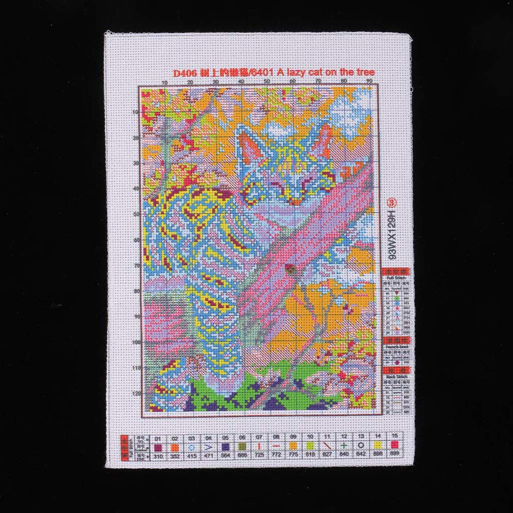 22 /× 31 cm 14CT SeaStart Stickvorlage Kreuzstich Stickerei Stickbild Stickpackung Handarbeit DIY mit Anleitung Katze