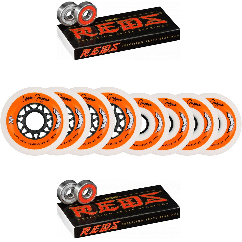 Labeda Wheels 80mm /76mm Hilo Gripper Soft Inline Hockey 78A Bones Reds