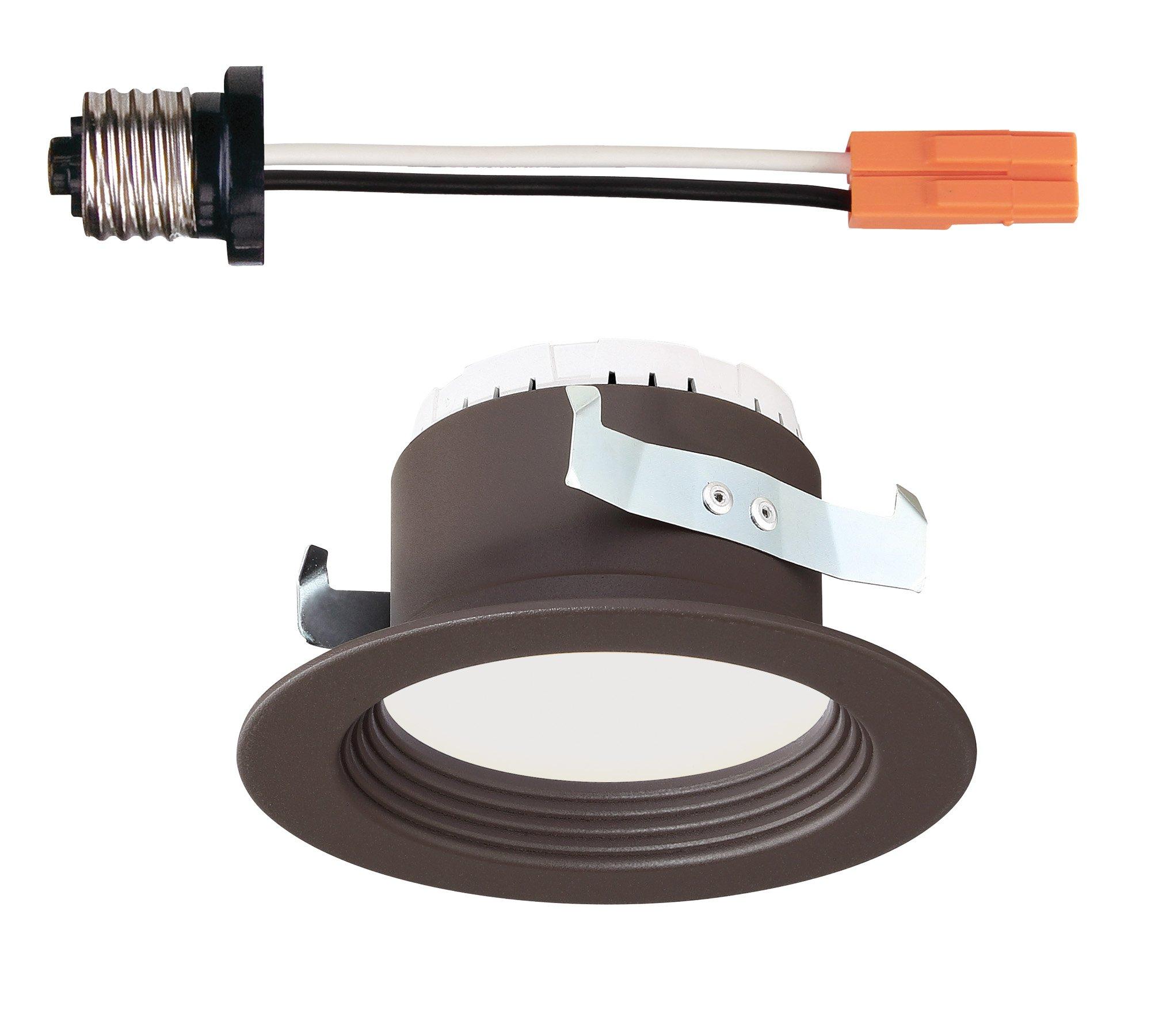 Designers Fountain EVL4733NBZ30 Trim Integrated LED Recessed Ceiling Light, 3000K, 90 Cri, 570 Lm, 4'', Bronze