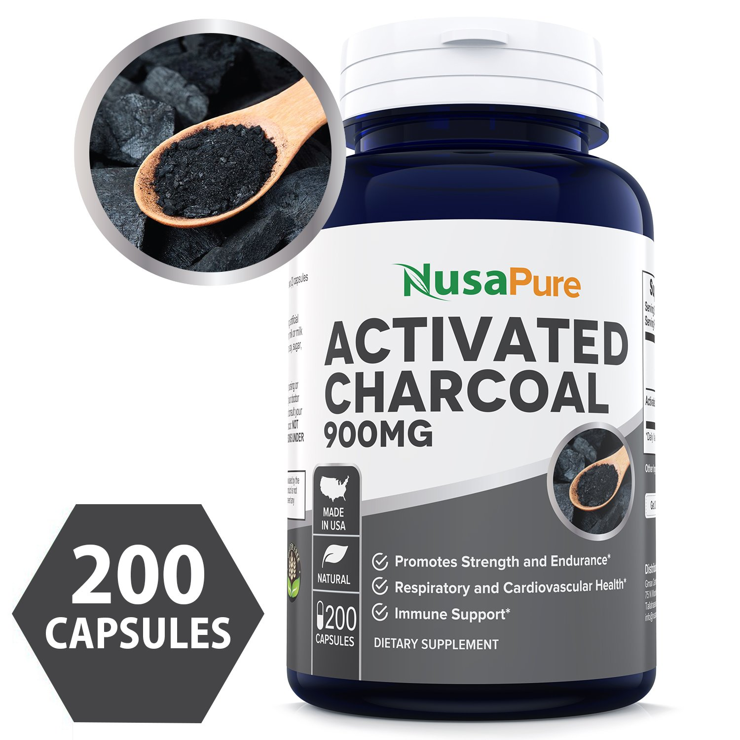 Best Activated Charcoal 900mg 200 Capsules (Non-GMO & Gluten Free) - Detox Naturally and Safely, Reduce Gas, Bloating and Indigestion - 100% Tasteless - 450mg per Caps - 100% MONEY BACK GUARANTEE!