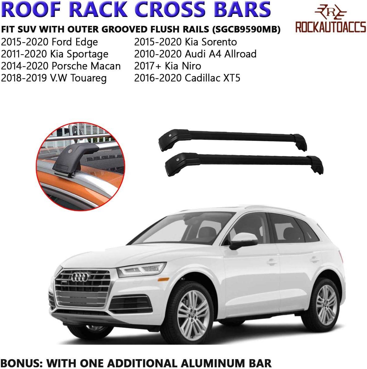 ROKIOTOEX Multi-Fit Roof Rack Crossbar Flush Rails Cross Bars Rooftop Ski Bike Rack Side Rail Luggage Carrier Cargo Box Aluminum Lockable 1 Pair Black SGCB9590MB