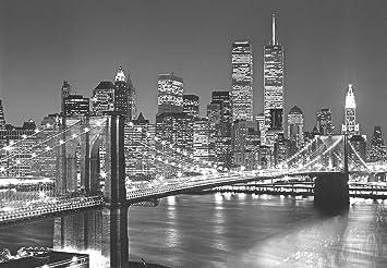 Fototapete skyline schwarz weiß  Fototapete Brooklyn Bridge (8tlg.): Amazon.de: Küche & Haushalt
