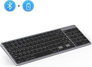 Rechargeable Bluetooth Keyboard, Jelly Comb Wireless Slim Keyboard with Number Pad Full Size Design for Windows iOS Android, Laptop Desktop PC Tablet-Black and Gray