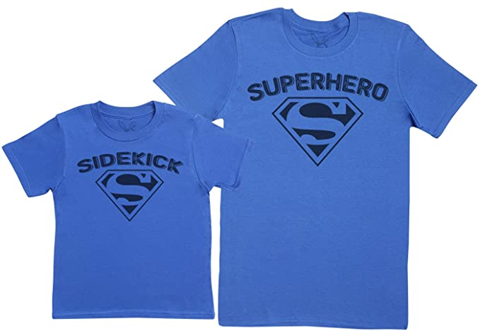 Sidekick & Superhero- Regalo para Padres e Hijos - Camiseta de niño y Camiseta de