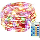 Mxsaver Dimmable Colorful LED Copper Wire String Lights with Remote (Waterproof, 65.6ft, Multi-colors, Updated)