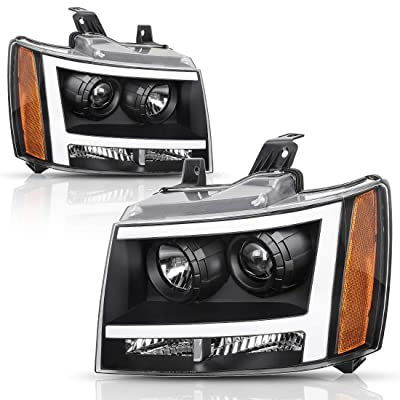 AUTOSAVER88 Headlight Assembly LED DRL Projector Compatible with 2007-2013 Chevy Avalanche Pickup Truck 07-14 Chevy Suburban/Tahoe Replacement for Chevrolet SUV Pickup Truck 20760578 20760579: Automotive