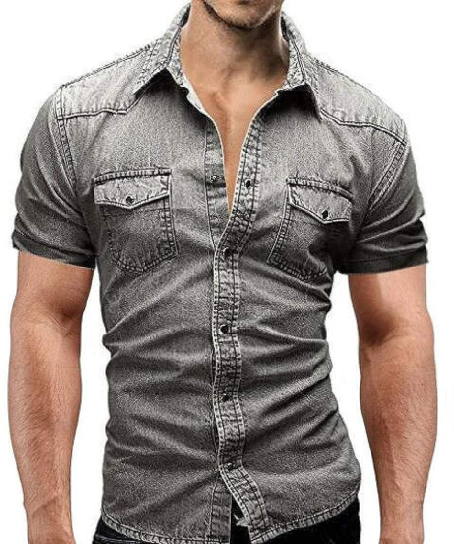 Domple Mens Casual Short Sleeve Pockets Slim Fit Cargo Denim Work Shirt