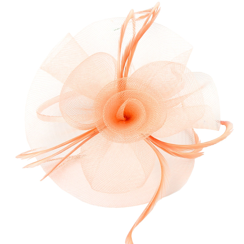 Discoball Elegant Flower Feather Headband Hat Fascinator Wedding Headwear Ladies Day Race Royal Ascot