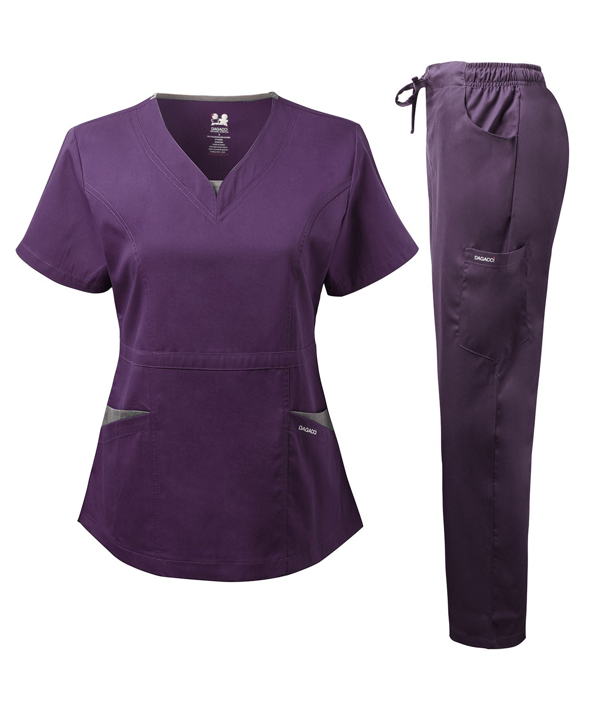 Dagacci Medical Uniform Women's Scrubs Set Stretch Split Contrast Net and Pocket (X-Large, Eggplant)