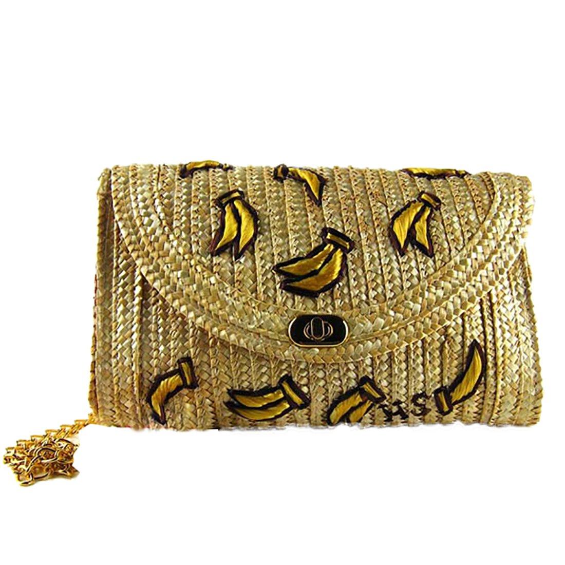 Straw bags for Women Woven Summer Beach bag Evening Clutch Purse (Banana)