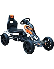Aosom Kids Pedal Powered Ride On Car Toys Pedal Powered Go Kart Racer with Hand Brake, Adjustable Seat, for Boys & Girls, (Black & Orange)
