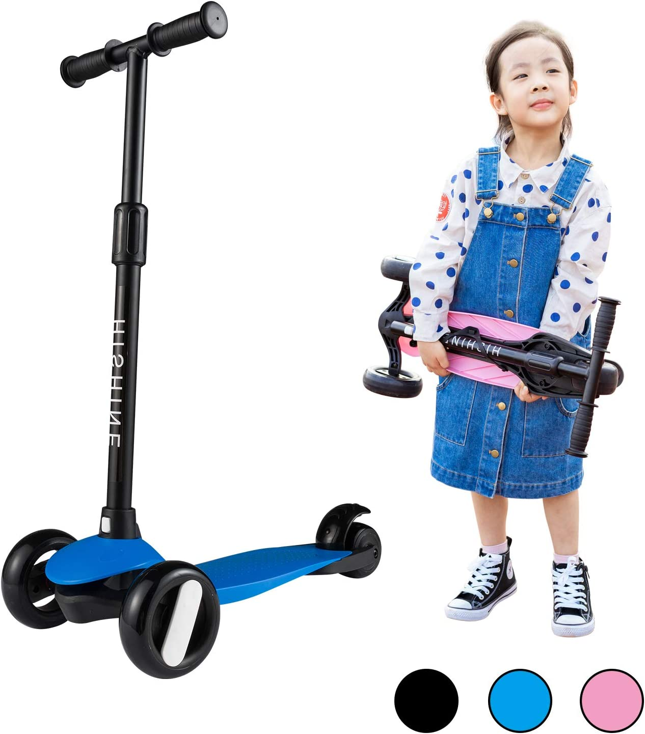 Adjustable Height Black Kick Scooter for Kids with 3 Big Light Up Wheels