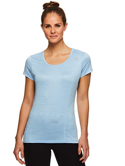 42c969f07654 Reebok Women's Dynamic Fitted Performance Short Sleeve T-Shirt - Dyna Airy  Blue Heather,