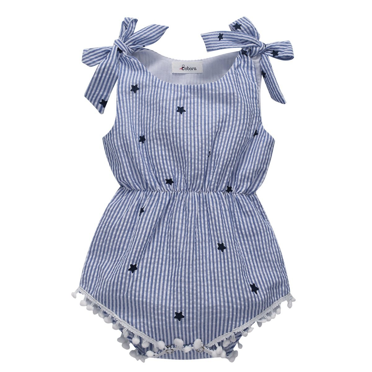 Weixinbuy Infant Baby Girl Bowknot Tassel Stripe Romper Clothes Bodysuit Outfits Blue by Weixinbuy