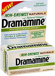 Dramamine Non-Drowsy Naturals Motion Sickness Relief   18 Count