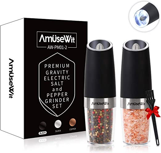 Battery Powered Salt Shakers Automatic One Hand Pepper Mills with LED Light OPUX Premium Gravity Electric Salt and Pepper Grinder Set of 2 Adjustable Coarseness Steel