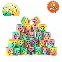 24 Piezas Mini Juguetes de Muelle de Arco Iris, Mágico Colorido Muelles Ideales para Cumpleaños Regalos de Fiestas Infantiles, Rellenar Bolsas de ...