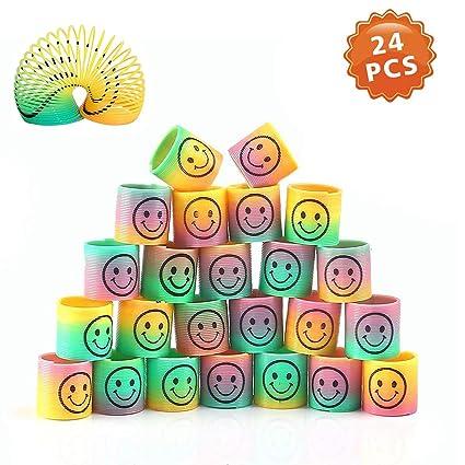 24 Piezas Mini Juguetes de Muelle de Arco Iris, Mágico Colorido Muelles Ideales para Cumpleaños