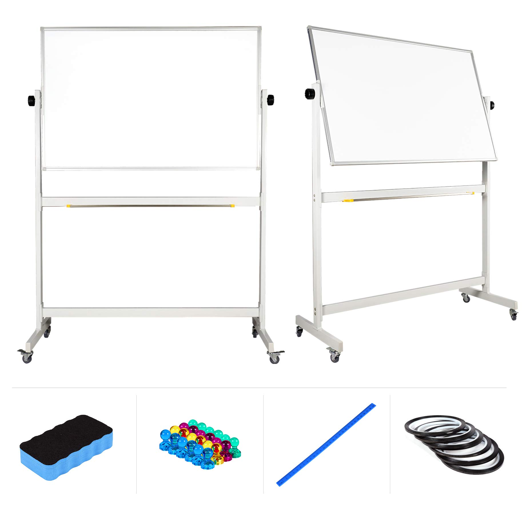 Mobile Whiteboard 48'' x 32'' inch Magnetic Double Sided Flip Over Dry Erase Reversible Portable Home Office Classroom Mobile White Board with Magnetic Eraser Ruler 24 Push Pin Magnets 6 Gridding Tapes