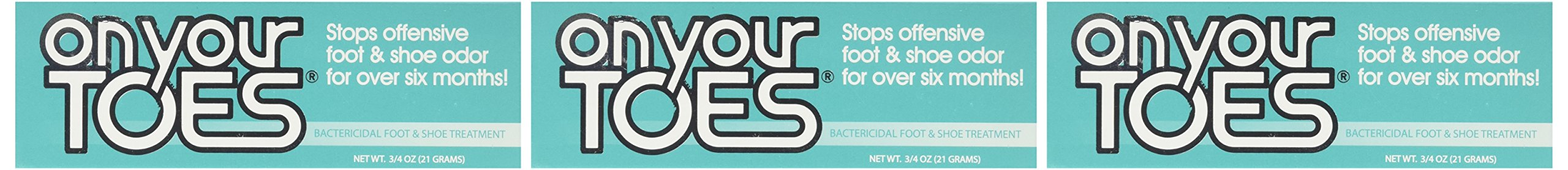 On Your Toes Foot Bactericide Powder - Eliminates Foot Odor for Six Months - Three Pack