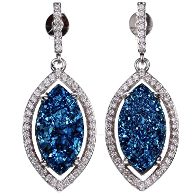 Buy ShinyJewelry Chic Oval Shape Natural Druzy Stone Resin Drop Earrings  Micro Cubic Zirconia Paved Platinum Plated Dangle Earring Women Jewelry ( Blue) ... 14d48441388d
